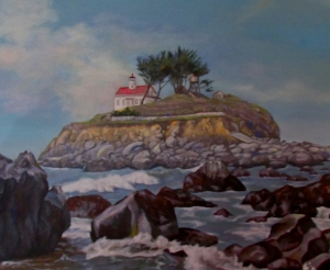 Detail of the Crescent City Lighthouse painting.