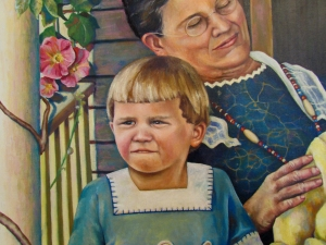 Detail of a large painting, the young boy depicted is my father.  He had just recently lost his mother.  He is deep in thought, how confusing that must have been at the tender age of three.