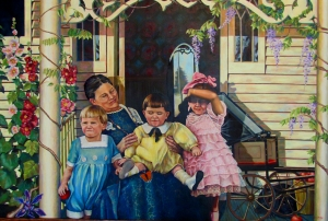 Set in the early part of the 1900's my father and his siblings had just lost their young mother to the influenza epidemic.  Here they sit with their grandmother.  A large painting and study in composition.