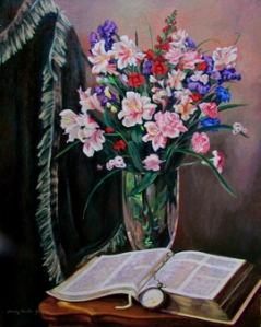 Flowers and Bible Still Life