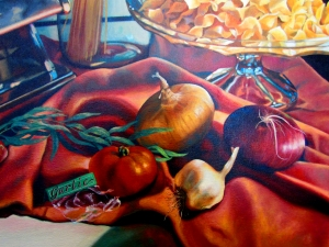 Detail of Still Life with Pasta.  Onions, garlic and tomatos.  Still life's area a study in composition.