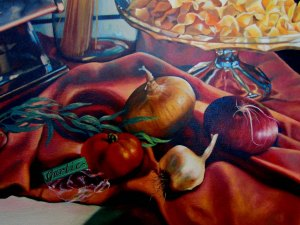 "A detail from ""Still Life with Pasta,"" an example of Classical Realism"