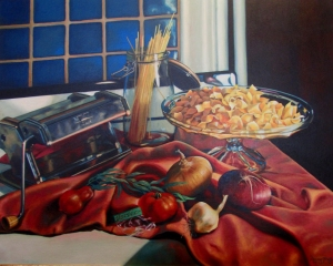 Still Life with Pasta.  I loved painting the heavy metal of the pasta machine and the soft tomato with the clear cellaphane garlic package.
