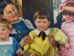 "A detail of a painting set in the early 1900's.  This detail is of a baby named William whom I renamed ""Charlie"" when I was a little girl. Uncle Charlie fit his personality better.  Sure do miss him."
