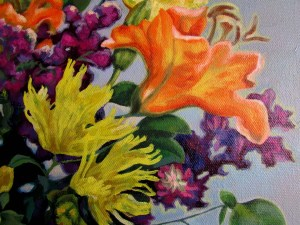 A detail from Mixed Flowers on Blue by Penny Fregeau