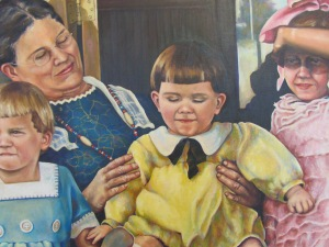 Detail from a painted family portrait - early 1900's by Penny Saville Fregeau