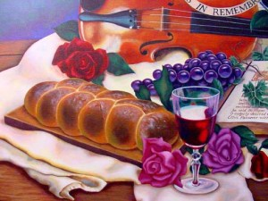 A still life painting with the elements of communion.