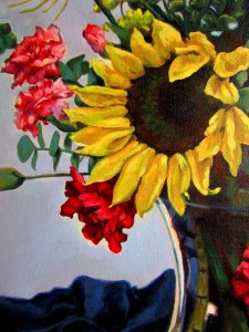 Detail of sunflower in painting: Mixed Flowers on Blue