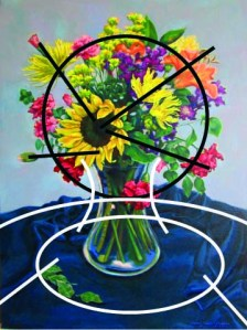 Composition Marks in the painting Mixed Flowers on Blue