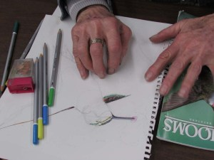 A student of retirement age draws the likeness of a hummingbird.