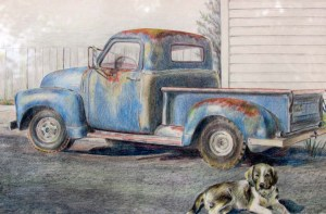 "Colored Pencil Drawing of an Old Blue truck and dog.  ""Old Blue"" could be the name of either one."