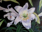 A painted Easter lily, detail from Resurrection Lilies