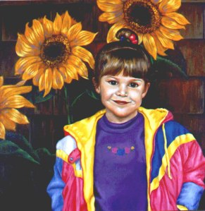 I painted this many years ago remembering my little girl's first day of school.